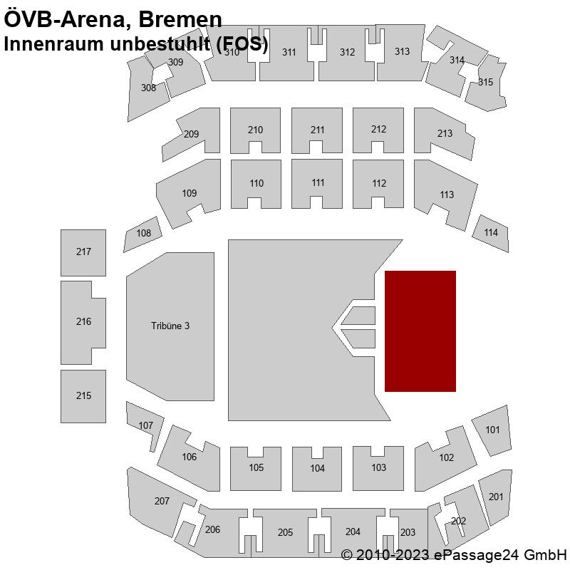 Saalplan ÖVB-Arena, Bremen, Deutschland, Innenraum unbestuhlt (FOS)