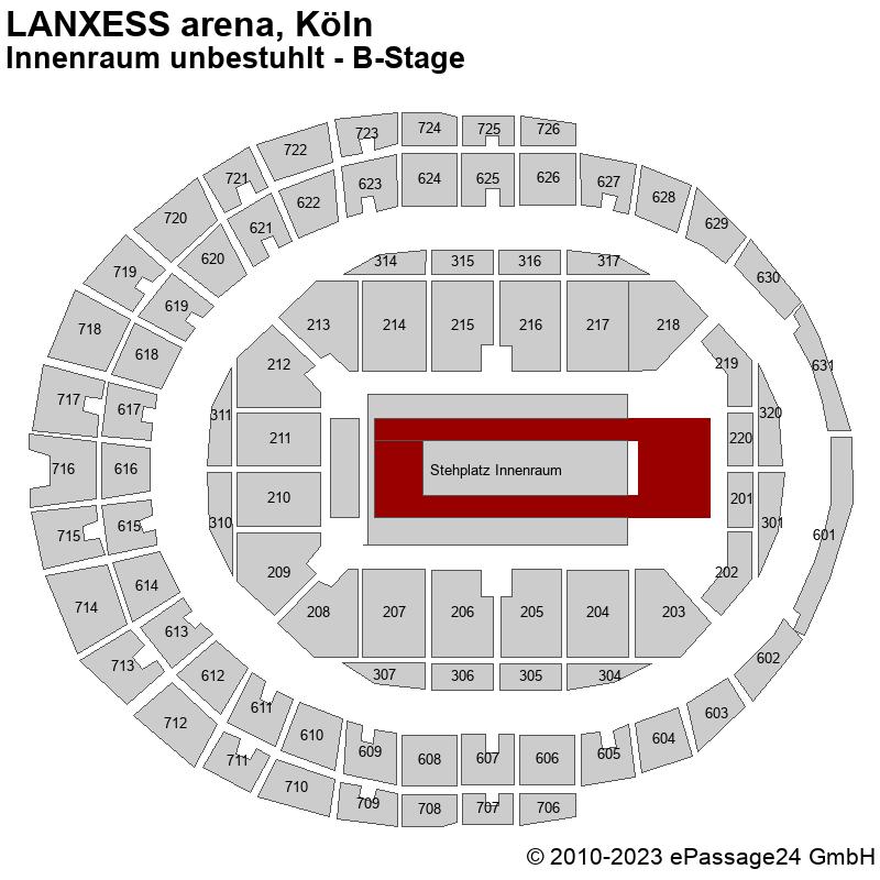 Saalplan LANXESS arena, Köln, Deutschland, Innenraum unbestuhlt - B-Stage