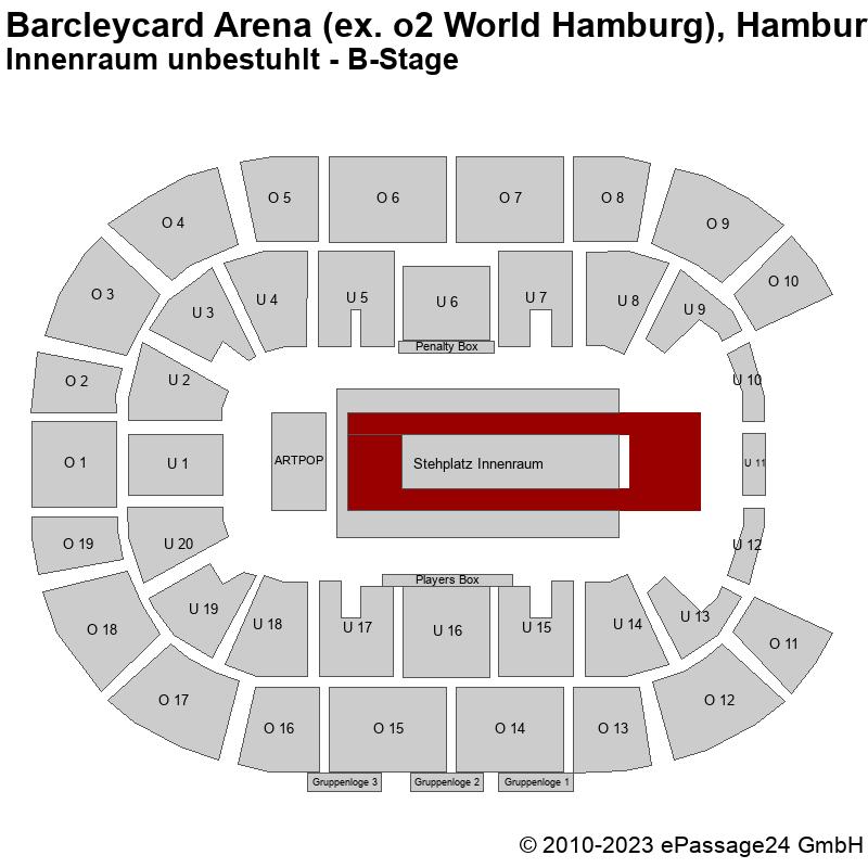 Saalplan Barcleycard Arena (ex. o2 World Hamburg), Hamburg, Deutschland, Innenraum unbestuhlt - B-Stage