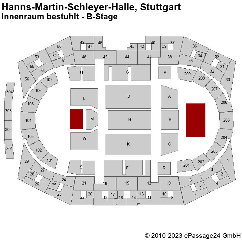 Saalplan Hanns-Martin-Schleyer-Halle, Stuttgart, Deutschland, Innenraum bestuhlt - B-Stage