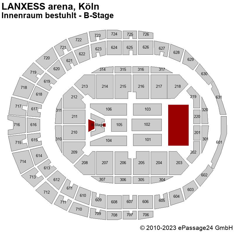 Saalplan LANXESS arena, Köln, Deutschland, Innenraum bestuhlt - B-Stage