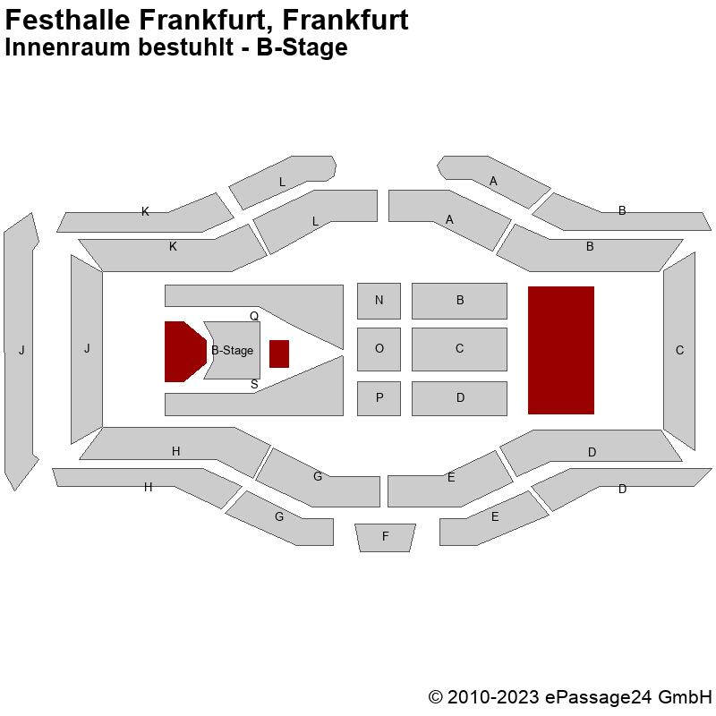 Saalplan Festhalle Frankfurt, Frankfurt, Deutschland, Innenraum bestuhlt - B-Stage