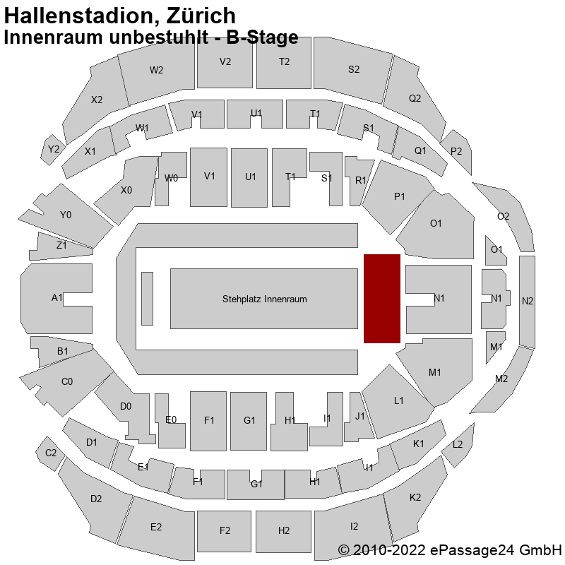 Saalplan Hallenstadion, Zürich, Schweiz, Innenraum unbestuhlt - B-Stage