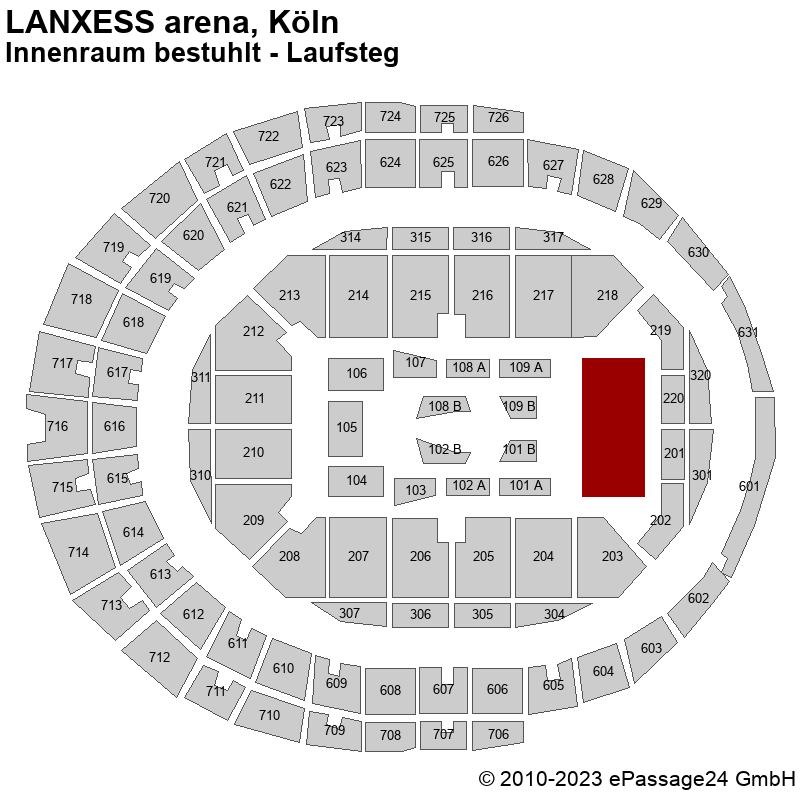 Saalplan LANXESS arena, Köln, Deutschland, Innenraum bestuhlt - Laufsteg