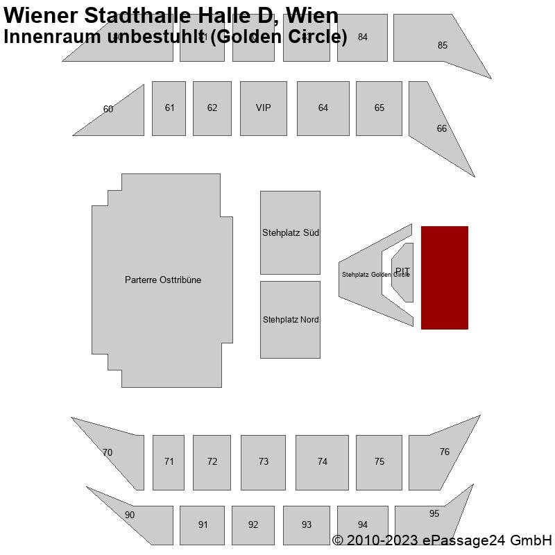 Saalplan Wiener Stadthalle Halle D, Wien, Österreich, Innenraum unbestuhlt (Golden Circle)