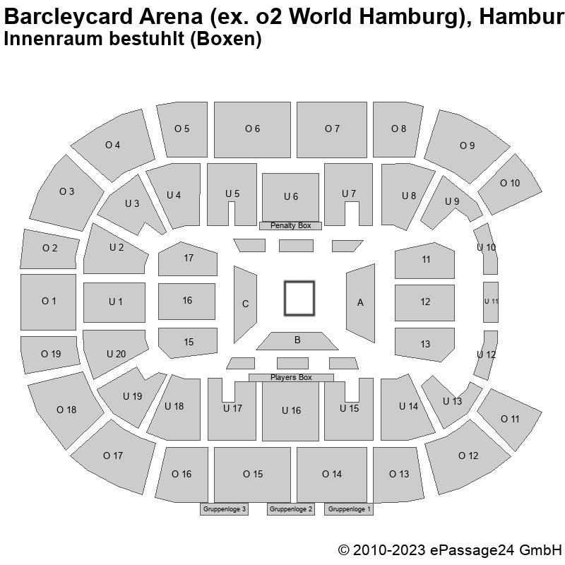 Saalplan Barcleycard Arena (ex. o2 World Hamburg), Hamburg, Deutschland, Innenraum bestuhlt (Boxen)