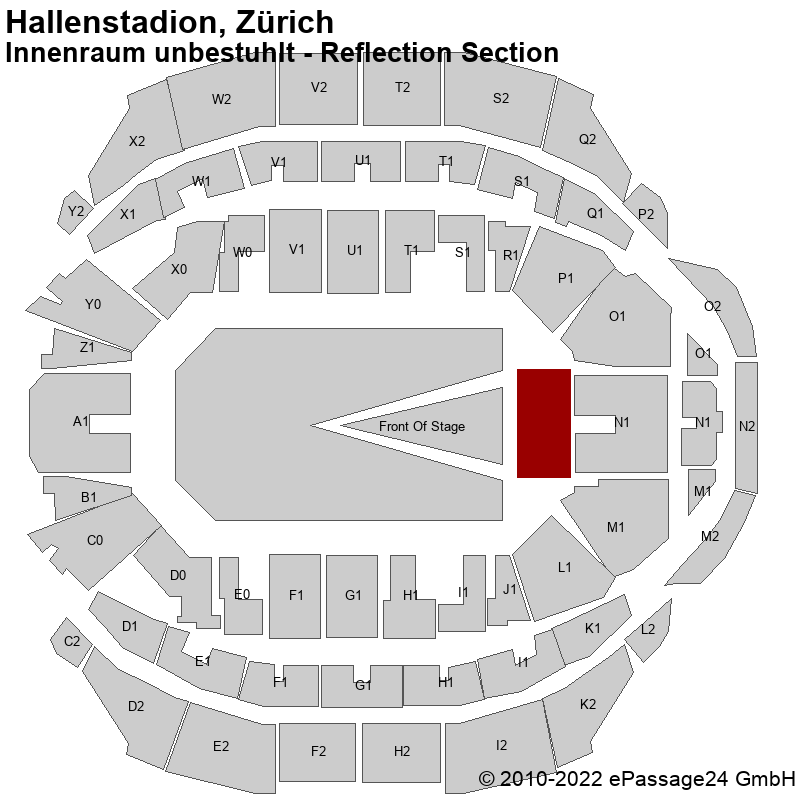 Saalplan Hallenstadion, Zürich, Schweiz, Innenraum unbestuhlt - Reflection Section