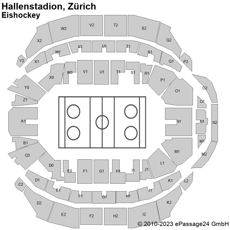Saalplan Hallenstadion, Zürich, Schweiz, Eishockey