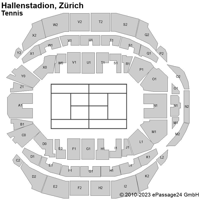 Saalplan Hallenstadion, Zürich, Schweiz, Tennis