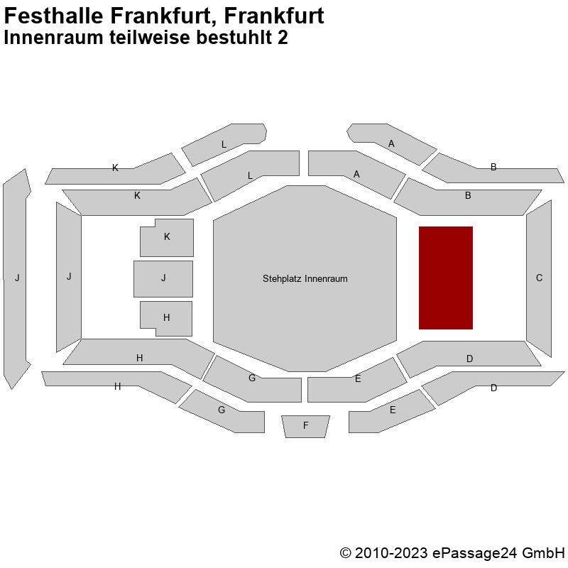 Saalplan Festhalle Frankfurt, Frankfurt, Deutschland, Innenraum teilweise bestuhlt 2