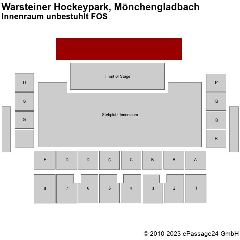 Saalplan Warsteiner Hockeypark, Mönchengladbach, Deutschland, Innenraum unbestuhlt FOS