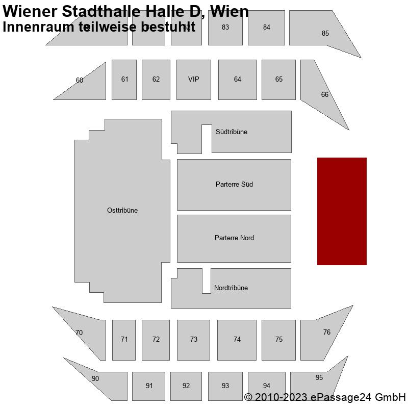 Saalplan Wiener Stadthalle Halle D, Wien, Österreich, Innenraum teilweise bestuhlt