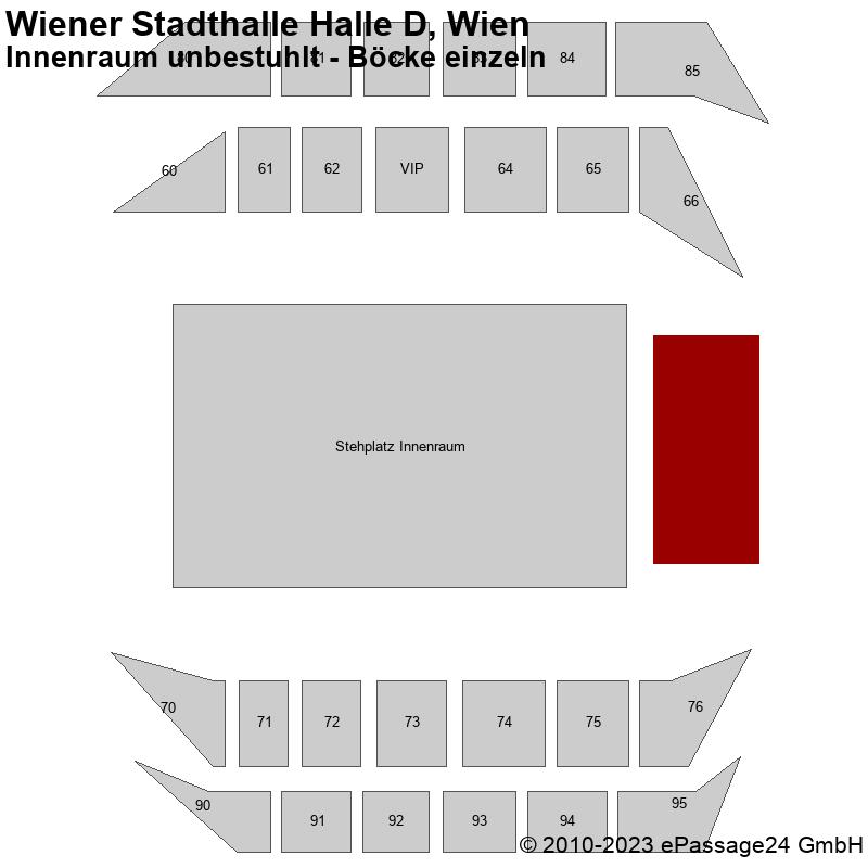 Saalplan Wiener Stadthalle Halle D, Wien, Österreich, Innenraum unbestuhlt - Böcke einzeln