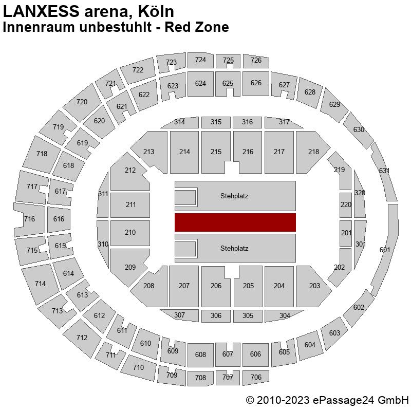 Saalplan LANXESS arena, Köln, Deutschland, Innenraum unbestuhlt - Red Zone