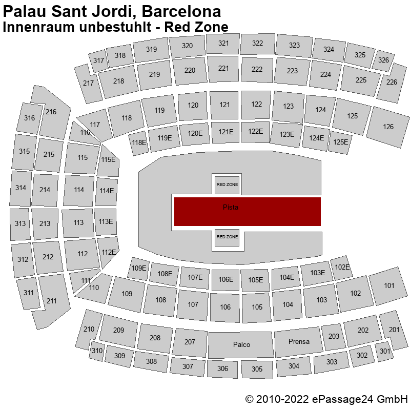 Saalplan Palau Sant Jordi, Barcelona, Spanien, Innenraum unbestuhlt - Red Zone
