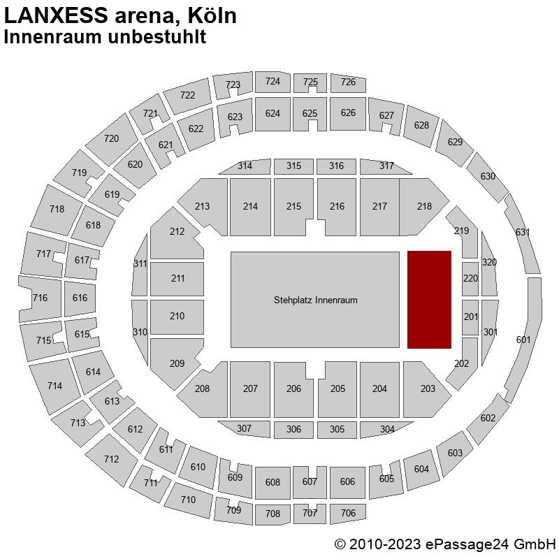 Saalplan LANXESS arena, Köln, Deutschland, Innenraum unbestuhlt