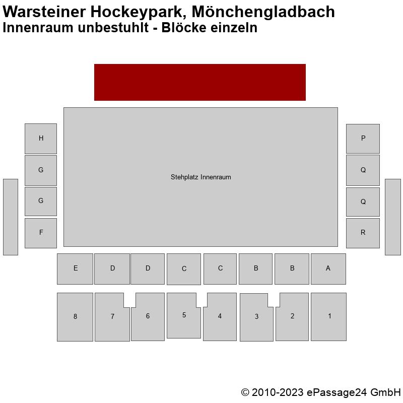 Saalplan Warsteiner Hockeypark, Mönchengladbach, Deutschland, Innenraum unbestuhlt - Blöcke einzeln