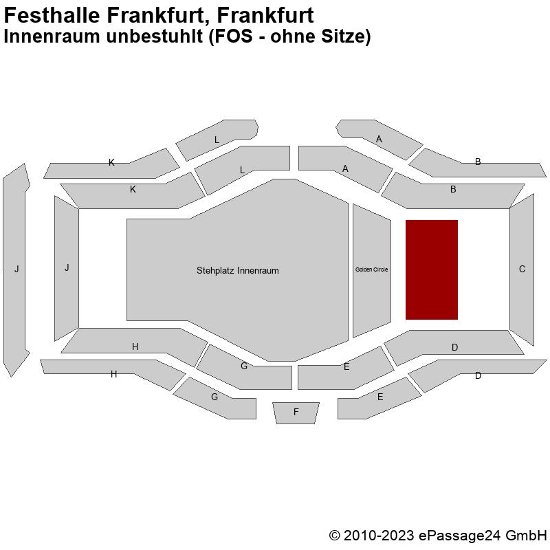 Saalplan Festhalle Frankfurt, Frankfurt, Deutschland, Innenraum unbestuhlt (FOS - ohne Sitze)