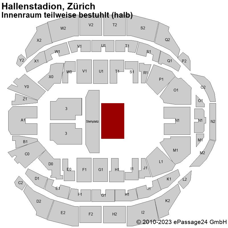 Saalplan Hallenstadion, Zürich, Schweiz, Innenraum teilweise bestuhlt (halb)