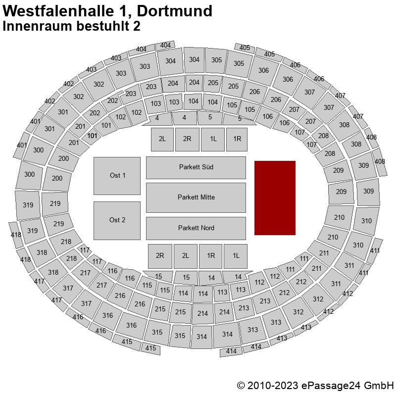 Saalplan Westfalenhalle 1, Dortmund, Deutschland, Innenraum bestuhlt 2