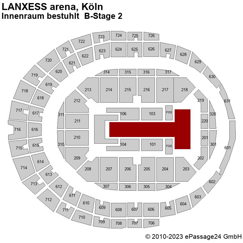 Saalplan LANXESS arena, Köln, Deutschland, Innenraum bestuhlt  B-Stage 2