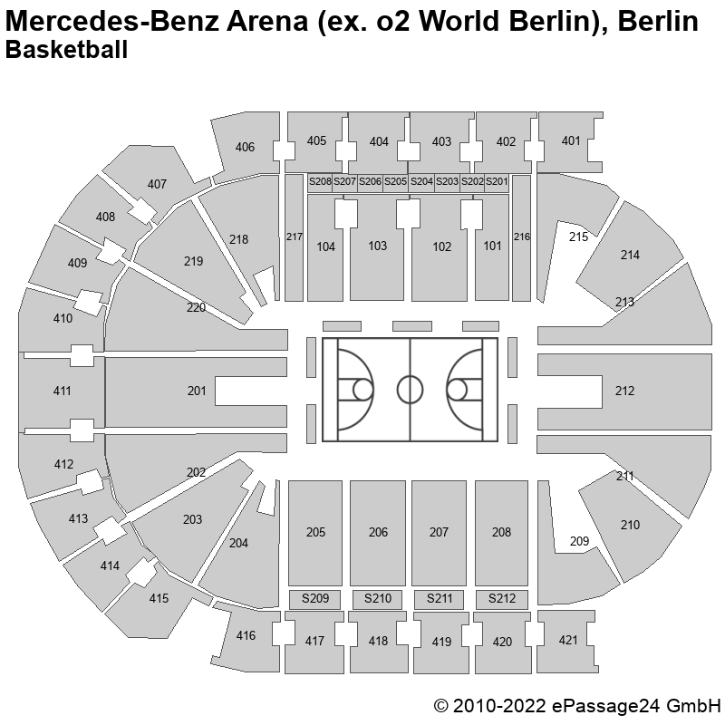 Saalplan Mercedes-Benz Arena (ex. o2 World Berlin), Berlin, Deutschland, Basketball