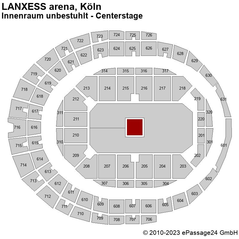Saalplan LANXESS arena, Köln, Deutschland, Innenraum unbestuhlt - Centerstage