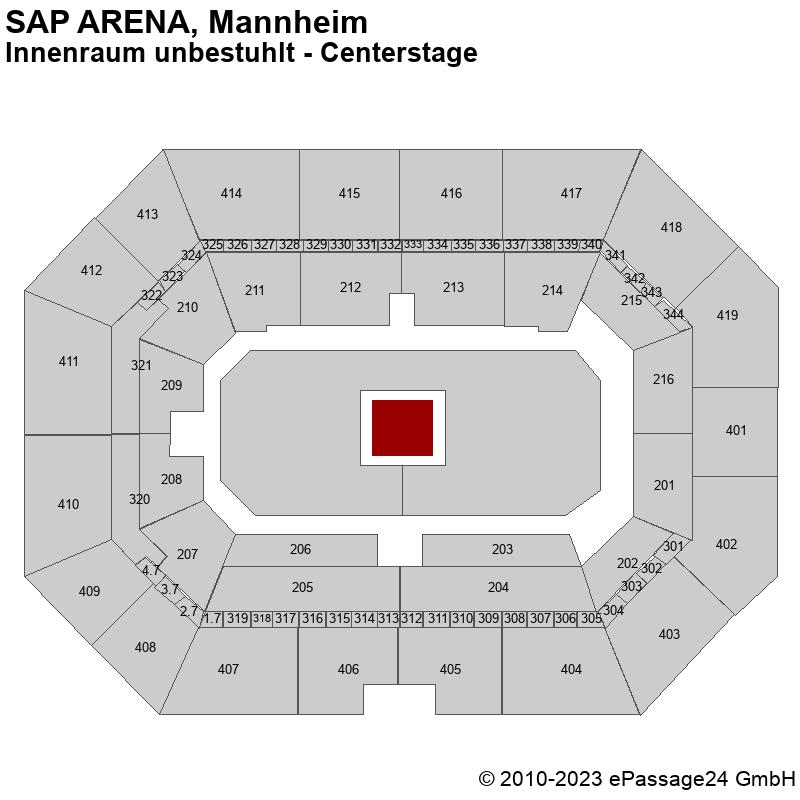 Saalplan SAP ARENA, Mannheim, Deutschland, Innenraum unbestuhlt - Centerstage
