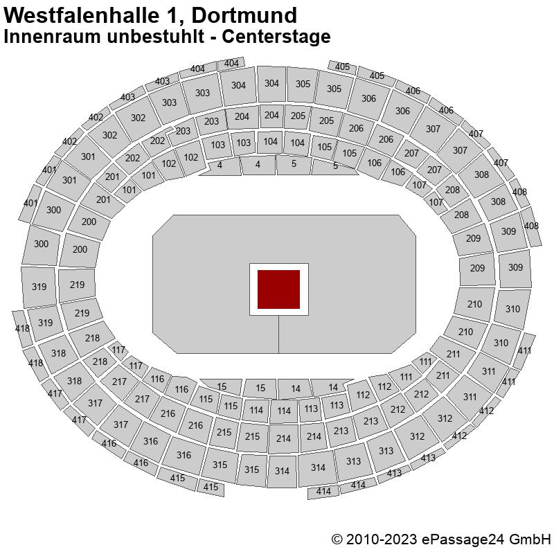 Saalplan Westfalenhalle 1, Dortmund, Deutschland, Innenraum unbestuhlt - Centerstage