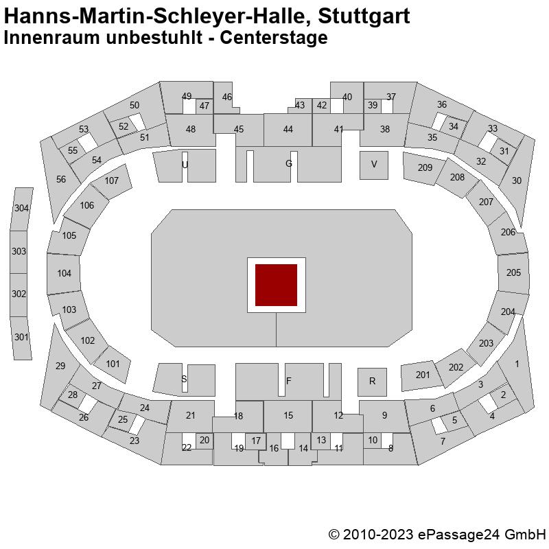 Saalplan Hanns-Martin-Schleyer-Halle, Stuttgart, Deutschland, Innenraum unbestuhlt - Centerstage