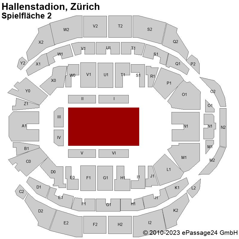 Saalplan Hallenstadion, Zürich, Schweiz, Spielfläche 2