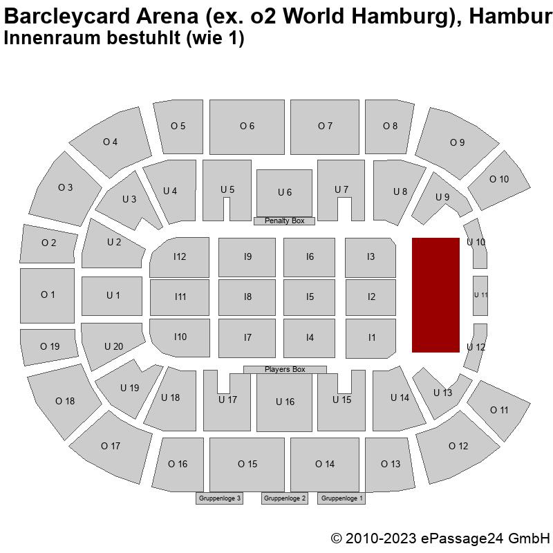 Saalplan Barcleycard Arena (ex. o2 World Hamburg), Hamburg, Deutschland, Innenraum bestuhlt (wie 1)