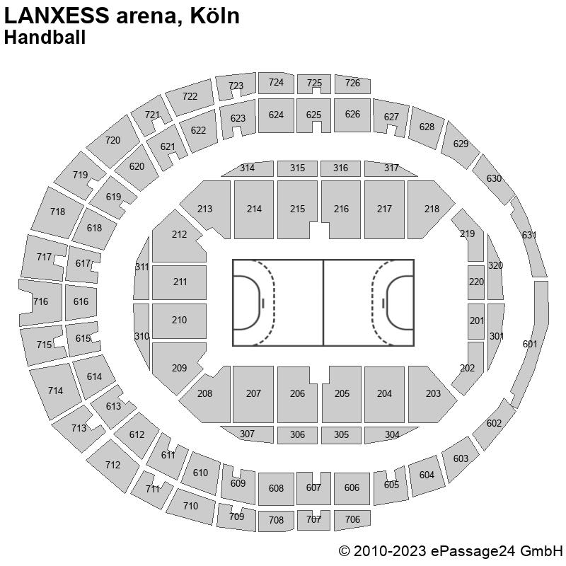 Saalplan LANXESS arena, Köln, Deutschland, Handball
