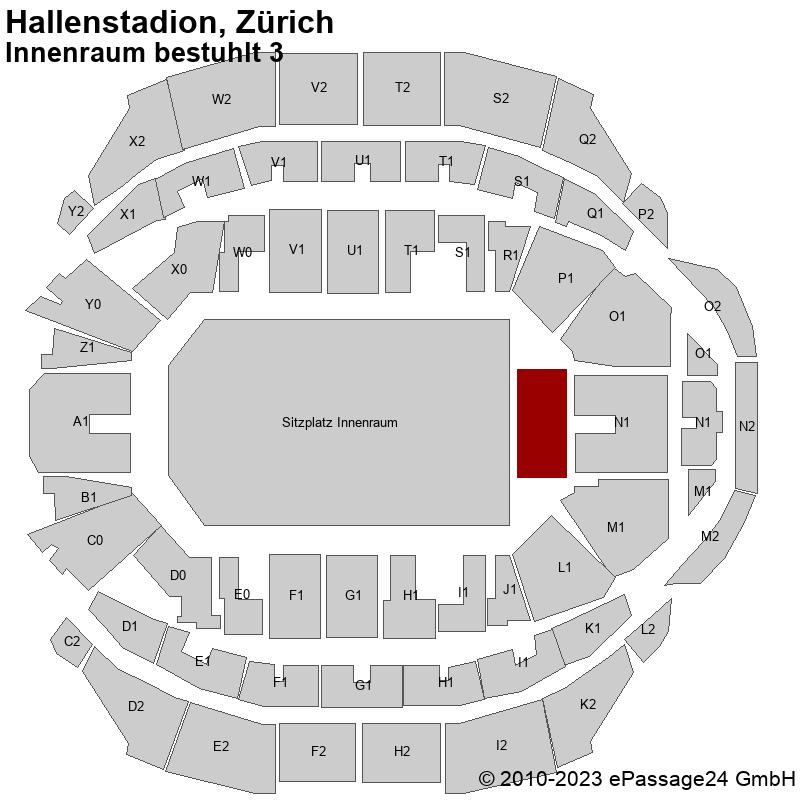 Saalplan Hallenstadion, Zürich, Schweiz, Innenraum bestuhlt 3