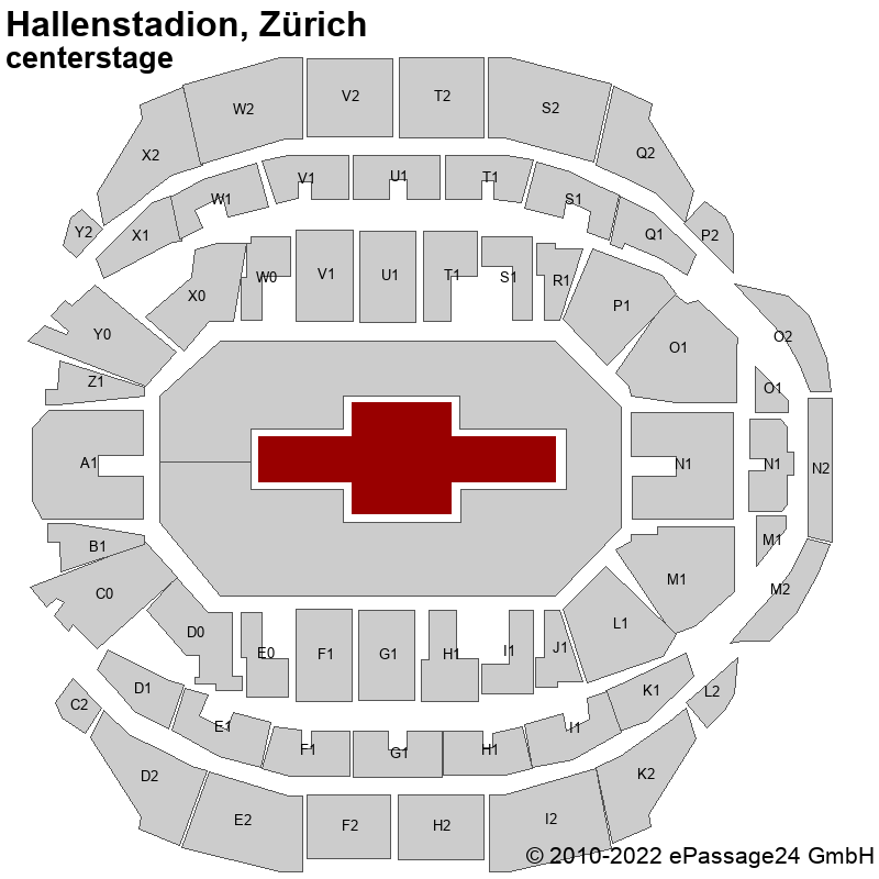 Saalplan Hallenstadion, Zürich, Schweiz, centerstage