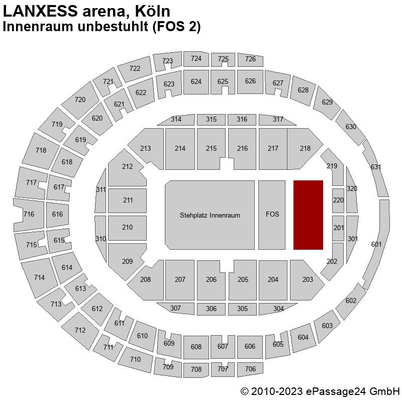 Saalplan LANXESS arena, Köln, Deutschland, Innenraum unbestuhlt (FOS 2)